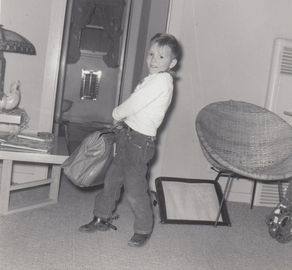 Greg running away from home, age 5.